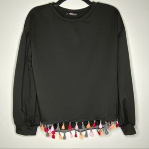 Shein Size Small Colorful Tassle Black Long Sleeve